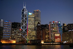 The view of Central, Hong Kong from a boat just off of the new Queen's Pier number 9. Photo credit: Hankt
